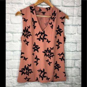 Ann Taylor Women Sleeveless Blouse Butterfly Print